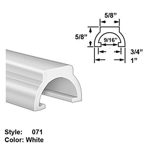 Food-Grade UHMW Plastic Half-Round Push-On Trim, Style 071 - Ht. 5/8'' x Wd. 1'' - White - 25 ft long by Gordon Glass Co.