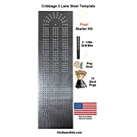 ChefwareKits Cribbage Board Template 3 Lane Starter Kit