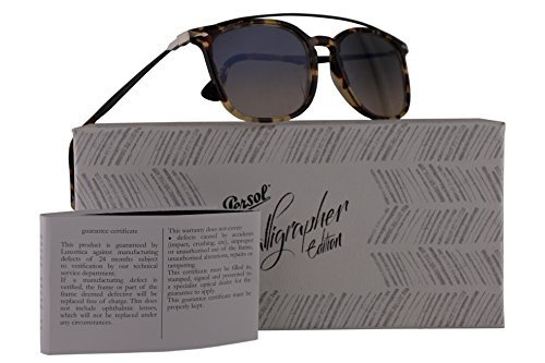 Persol PO3173S Calligrapher Edition Sunglasses Grey Beige Brown Havana w/Grey Gradient Brown Lens 54mm 105732 PO 3173-S PO3173-S PO - David Glasses In Beckham
