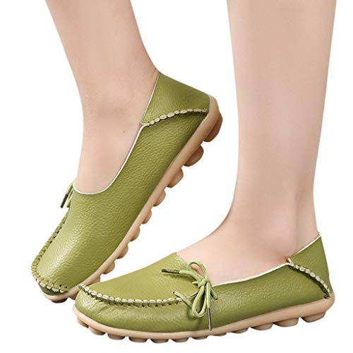 Women's Leather Loafers Casual Soft Round Toe Moccasins Wild Driving Flats Shoes Breathable Nurse Slip-On Gym Shoes
