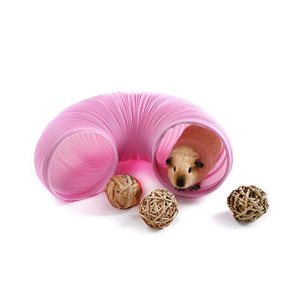 Niteangel Fun Tunnel with 3 Pack Play Balls for Guinea Pigs, Chinchillas, Rats and Dwarf Rabbits 2