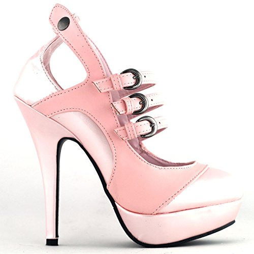 Show Story Glam Mary Jane Baby Pink Vintage Stylish Cut-out Heels For WomenLF30464BP409USBaby Pink