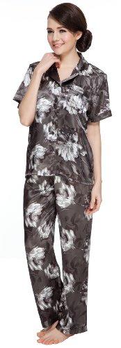 (Sunrise Women's Short Sleeve Classtic Satin Pajama Set (Large, Silver))