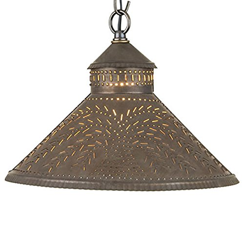 Stockbridge Shade Light with Willow in Blackened Tin Handcrafted Rustic Willow