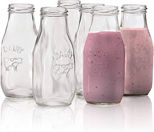 Circleware 67039 Dairy Milk Glass Bottles, 10.5 oz, for sale  Delivered anywhere in USA