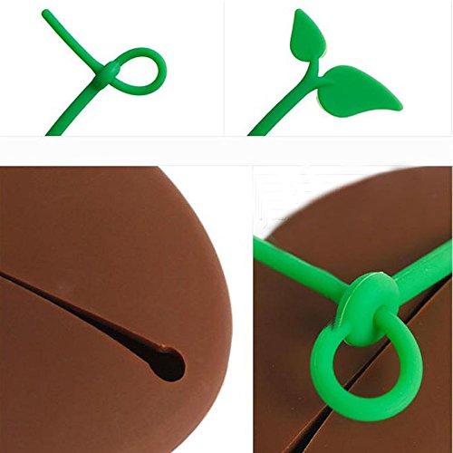 GeoBIX(TM) Novelty Silicone Coffee Bean Shape Keyring Key Bag Purse Pouch Holder Xmas Gifts