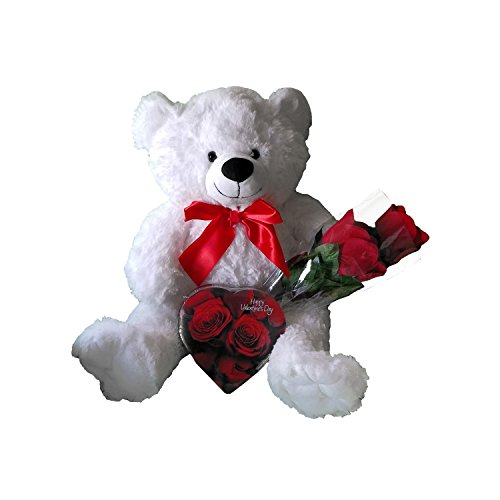 Valentines Day Stuffed Plush White Teddy Bear with Assorted Chocolate Candy Heart and Bouquet of Red Roses