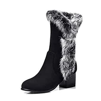 Amazon.com: Women Mid-Calf Winter Boots Suede Faux Fur Mid