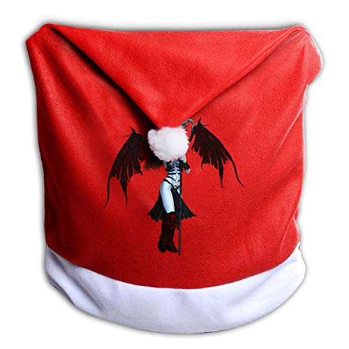 FUNMAX Cool Halloween Sexy Hell Devil Non-Woven Xmas Christmas Themed Dinner Chair Cap Hat Covers Set Ornaments Backers Protector for Seat Slipcovers Wraps Coverings Decorations