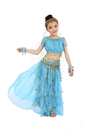 Girls Belly Dance Top Skirt Set Halloween Costume with Head Veil,Waist Chain, Blue, S(Height: 39.5in-49.2in) -