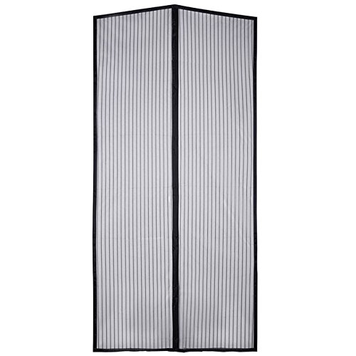 IBS Magnetic Screen Door Bug Screen Mesh Curtain with Full Velcro Frame ,Size 36 x 83 Inch (Black)