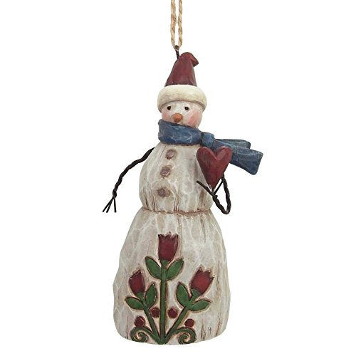 "Country Snowman Ornament (Jim Shore Heartwood Creek Folklore Snowman Holding Heart Stone Resin Hanging Ornament, 4.375"")"