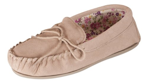 Nordvek Ladies Sheepskin Suede Moccasin Slippers With Patterned Lining Non-Slip Hard Sole # 419-100 Camel I290Mrp6vm