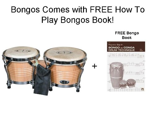 GP Percussion B2 Pro-Series Tunable Bongos 6 & 7 Inch(Clear Finish, Hickory) With FREE HOW TO PLAY BONGO BOOK ()