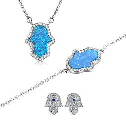 Sterling Silver Blue Hamsa Hand of Fatima Pendant Necklace Stud Earring Link Bracelet with CZ 3 in 1 Set - Hamsa Set