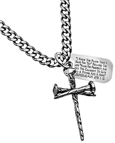 Spirit & Truth Stainless Steel 3 Nail Cross Necklace Curb Chain 24