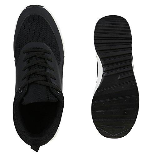 Stiefelparadies baja negro Mujer zapatilla blanco y xaPq6