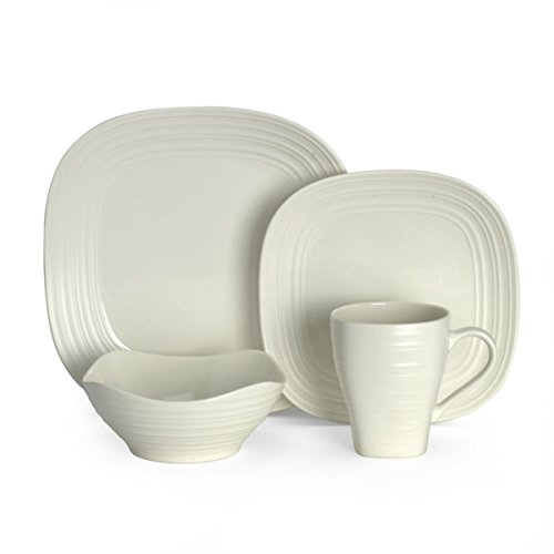 - Mikasa Swirl White Square 4-Piece Place Setting, Service for 1