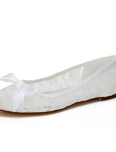Women'S amp;Amp; Spring UK6 CN39 Evening EU39 Party Silk Fall Flat White Dress Summer Others Wedding Flats Flats Lace Heel US8 Bowknot zrCqwz5