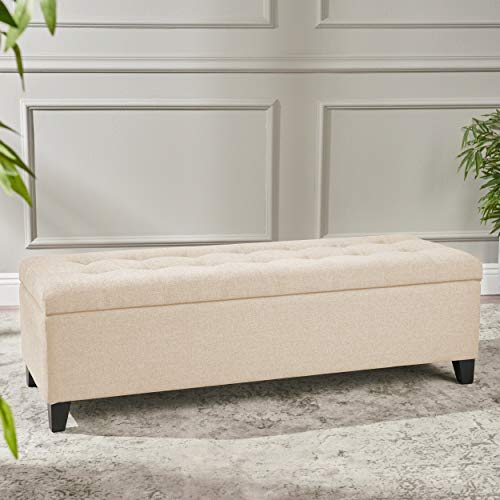 Christopher Knight Home 211234 Santa Rosa Beige Tufted Fabric Storage Ottoman, Dark