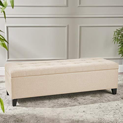 Beige Tufted Fabric Storage Ottoman Bench