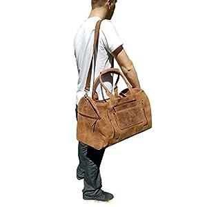 22 Inch Real Leather Travel Bag Vintage Duffel Men's Gym Cabin Luggage Holdall weekender