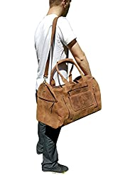 22 Inch Real Leather Travel Bag Vintage Duffel Mens Gym Cabin Luggage Holdall weekender