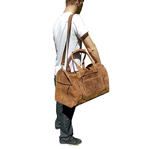 22 Inch Real Leather Travel Bag Vintage Duffel Men's Gym Cabin Luggage Holdall weekender by ANNUCREATIONS