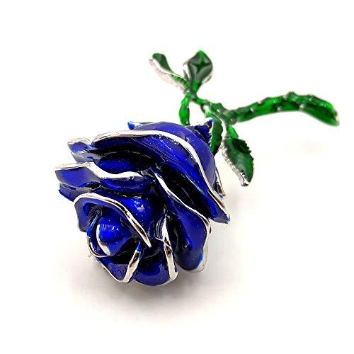 DREAMLANDSALES Antique Long Stem Green Leaf Blue Rose Flower Brooch Bud Pin Valentine' s Day Gift Jewelry