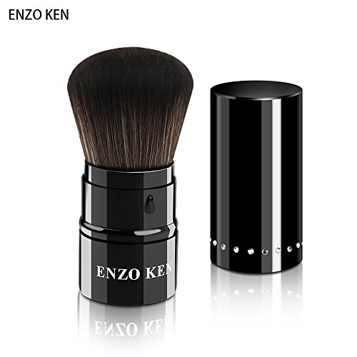 (Professional Cosmetic Makeup Minerals Powder Brush,ENZO KEN Travel Retractable Kabuki for Foundation Blush)