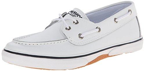 Sperry Top-Sider Halyard Leather Boat Shoe (Little Kid/Big Kid), White, 5.5 M US Big Kid