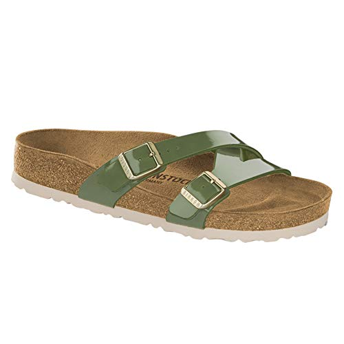 (Birkenstock Women's Yao Sandal Khaki Patent Birko-Flor Size 38 N EU)