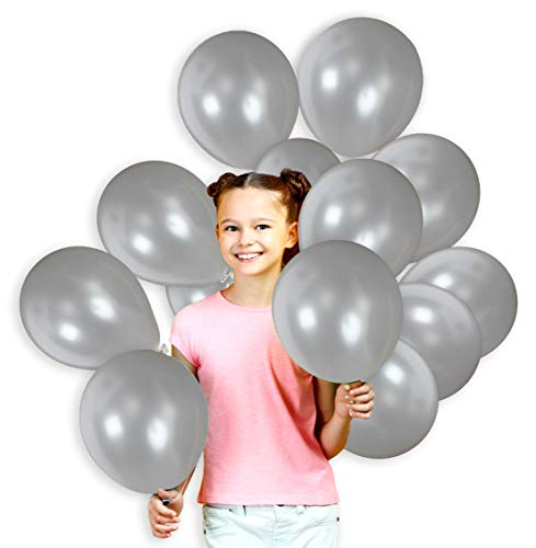 Pack of 36 Metallic Silver 12 Inch Shiny Latex Balloons with Curling Ribbons Birthday Office Party Supplies Retirement New Years Eve and Wedding -