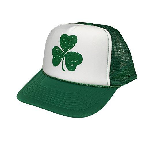 P&B Shamrock Shenanigans Slainte Leprechaun Ireland Flag Irish Distressed Saint Patrick's Day Irish Day Adjustable Unisex Hat Cap (Green/White/Green4)