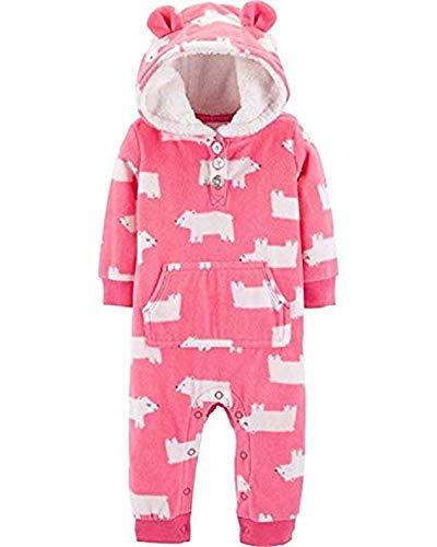 Carter's Baby Girls' Hooded Fleece Jumpsuit (Pink/Polar Bear, 12 Months)