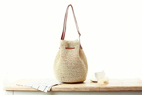 Beige Small Woven Bag Korean Shoulder Lady Donalworld Straw Bucket Bag Drawstring Hobo f0pP6qx