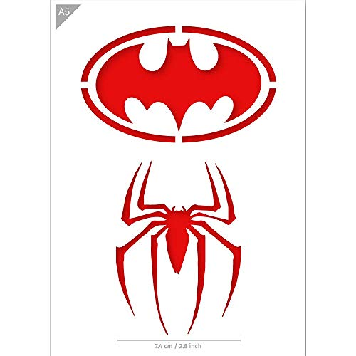 QBIX Superhero Stencil - Batman Stencil - Spiderman Stencil - A5 Size - Reusable Kids Friendly DIY Stencil for Painting, Crafts, Wall, Furniture -