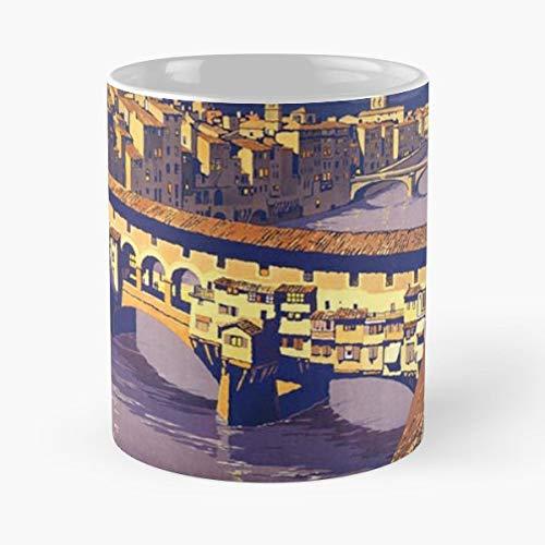 - Florence Italy Vintage Travel Poster - Morning Coffee Mug Ceramic Best Gift 11 Oz