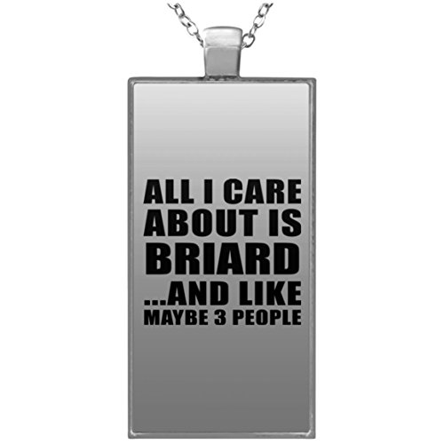 - Designsify Pet Lover Necklace, All I Care About Is Briard And Like Maybe 3 People - Rectangle Necklace, Silver Plated Pendant, Best Gift for Dog Owner, Cat Owner, Family, Friend