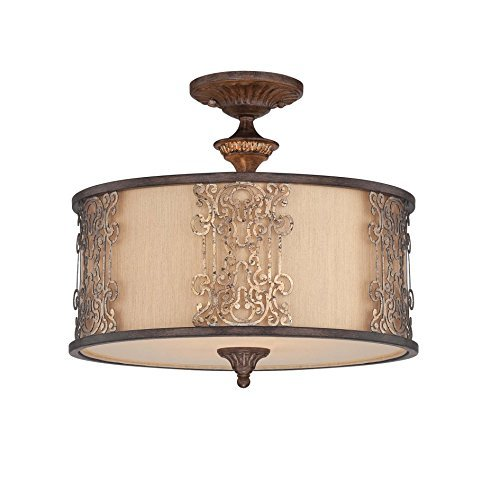 Savoy House 6-3952-3-124 Semi-Flush with Cream Shades, Fiesta Bronze with Gold Highlights Finish by Savoy House