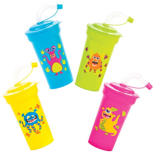 Alien Monsters Bendy Straw Cups For Kids Fun-Packed Halloween Toys At Pocket Money Prices - Perfect Party Bag Fillers For Children (Pack of (Ross Halloween Party)