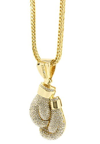 Mens Gold Plated Hip Hop Boxing Gloves Pendant 36