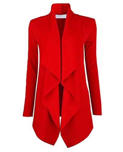 Large YuanDian Automne Couleur Causal Long Gilet Manches Veste Manteau Rouge Femme Unie Cardigan Lapel Chaud Longues 4frwfXqn