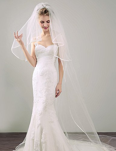 (FJY&TS Two-tier Ribbon Edge Wedding Veil Blusher Veils Elbow Veils Chapel Veils 53 Ribbon Tie Tulle, white)