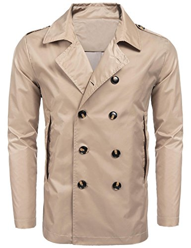 Dongba Mens Stylish Fashion Classic Blend Double Breasted Collar Slim Fit Trench Coat