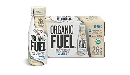 Organic Valley, Organic Fuel High Protein Milk Shake, 26G Protein, Vanilla, 11 ounces (Pack of 12) (Muscle Building Milkshake)