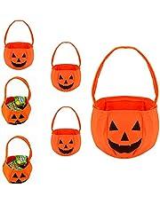 Ysislybin 6 stycken halloween godisväska, halloween godispåse, återanvändbara presentpåsar för barn, pumpaväska av tyg