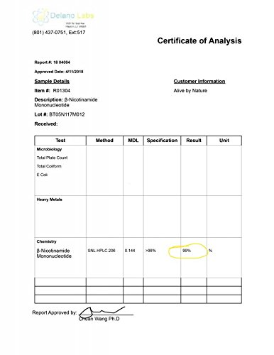 NMN - Nicotinamide Mononucleotide (12 Grams) - Certified 99% Pure Powder by alivebynature (Image #5)