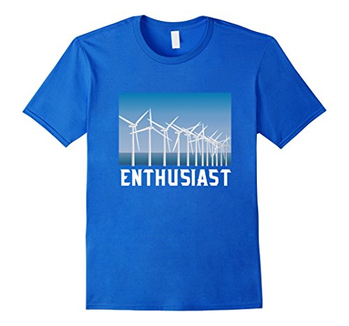 Mens Windmill Renewable Energy Enthusiast Shirt Wind Turbine Tee XL Royal Blue