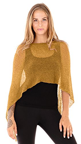 SHU-SHI Womens Sheer Sweater Poncho Pullover Lightweight Knit Shrug One Size Fits Most Gold